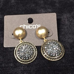 Chico's Gold-tone and Simulated Diamond Earrings